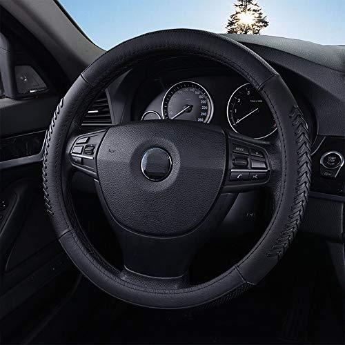 AMOSD Leather Car Steering Wheel Cover Fashion Sports Leather Handlebar Set Black Diameter 36-38CM Weave Pattern (Size : S(36CM))
