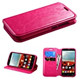 Customerfirst - Flip Wallet Pouch, Fold case For Alcatel One Touch Fierce 2 / Alcatel 7040T (T-Mobile/MetroPCS) / POP ICON A564C (Straight Talk/TracFone) Case + Key Chain (LEATHER PINK)