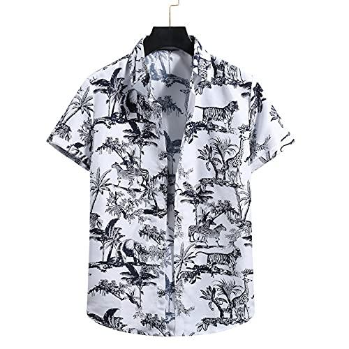 Camisa Hawaiana Camisa Hawaiana con Botones Hawaianos De Manga Corta para Hombre, Camisetas con Estampado De Animales De Árbol Tropical Junto Al Mar, Camisa Informal De Secado Rápido, Manga Corta,