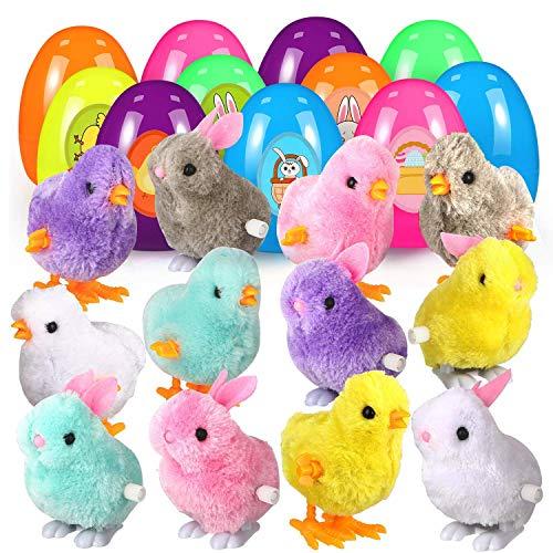FunsLane 12Pcs Huevos de Pascua Rellenos, Juguetes de Pascua Conejos y Polluelos enrollados, Conejitos de Pollo saltarines Coloridos de 3.9' + 2 Pegatinas de Pascua para niños