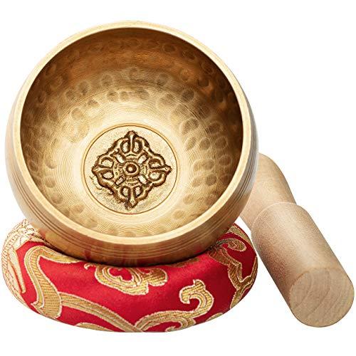 CAHAYA Juego de Cuencos Tibetanos 8cm 7 Metales con Cojín Cosido y...