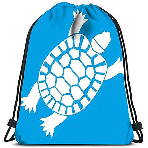 jenny-shop Sac à Dos à Cordon Turtle Icon Blanc Bleu Yoga Runner Daypack Sacs à Chaussures