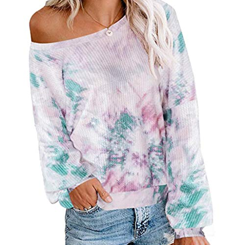 Lowest Prices! kaifongfu Women Tie-dye Pullover Tops Long Sleeve Autumn Top Pullover Sweatshirt Tops...