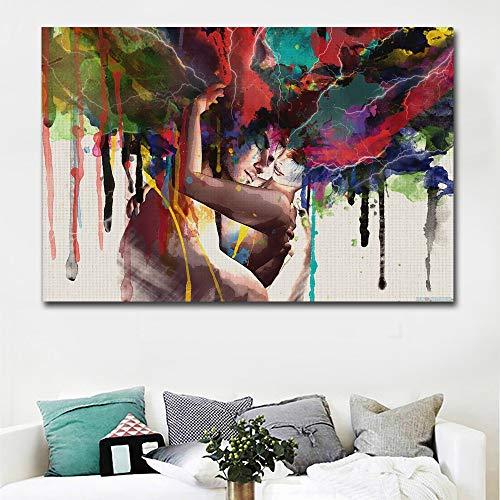 Muurstickers voor kunstwerken, verschillende stijlen voor wanddecoratie, creatief cadeau, olieverfwerk, paar, decoratie voor woonkamer, slaapkamer, HD inkjetstraal, frameless afbeelding 60 * 80cm