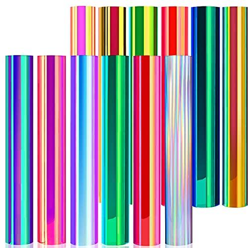 Adhesivo de vinilo cromado de Holographic, lámina de transferencia, papel de transferencia con purpurina y transferencia térmica, lámina autoadhesiva para vidrio, cerámica, metal, plástico, modelismo