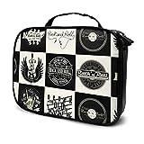 Set Monocromo Rock Roll Music Prints Travel Mens Travel Toiletry Bag Bolsas de Maquillaje pequeñas Estuches de Maquillaje Bolsa Impresa multifunción para Mujeres