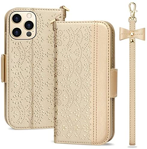 Photo of WWW Designed for iPhone 13 Pro Max Case (6.7″ 2021) / Designed for iPhone 13 Pro Max Wallet Case,[Romantic Carved Flower] Wallet Case with [Makeup Mirror] [Kickstand] for iPhone 13 Pro Max,Gold