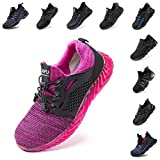 Zapatos de Seguridad Hombre Mujer Zapatillas de Trabajo con Punta de Acero Ligeros Calzado de Industrial y Deportivos Sneaker Negro Azul Gris Número 36-48 EU Rosa 42