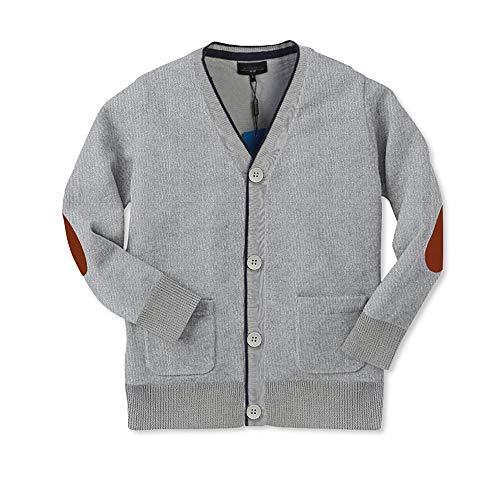 Gioberti Boy's 100% Cotton Knitted Cardigan Sweater, Gray, Size 7