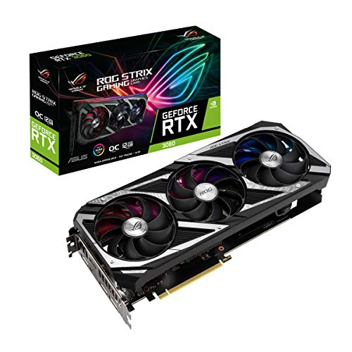 ASUS ROG Strix NVIDIA GeForce RTX 3060 OC Edition Carte Graphique Gaming (PCIe 4.0, 12GB GDDR6, HDMI 2.1, DisplayPort 1.4a, ventilateurs axiaux, 2.7-slot, Super Alloy Power II, GPU Tweak II)