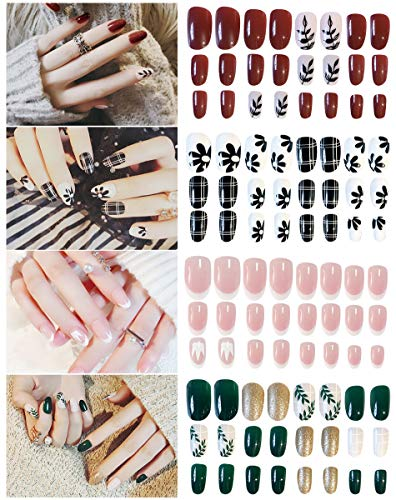 96Pcs 4 Set Fake Nails,Elegant False Nails Short Full Cover Nail Art Artificial Nails …