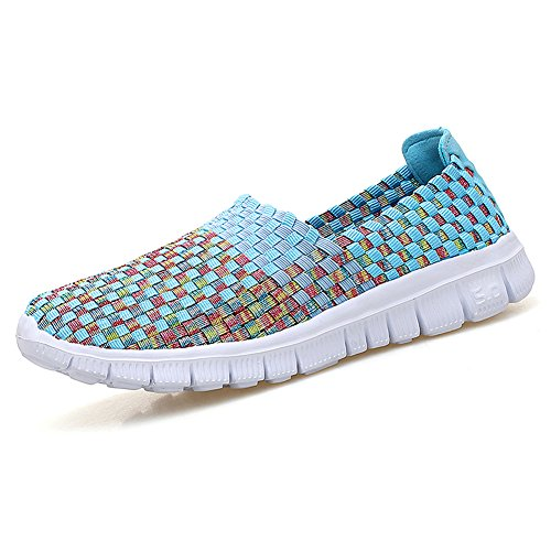 Konfor Womens Lightweight Elastic Trainers Breathable Fitness Work Out Slip-on Woven Shoes Blue US8.5-9