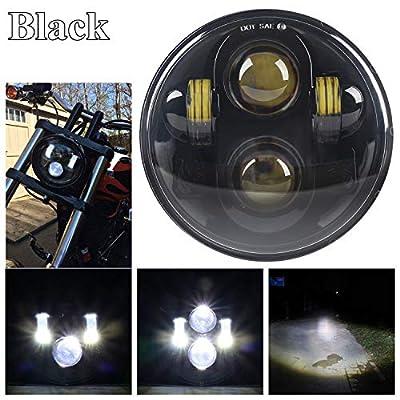 HOZAN BLACK 5.75 5-3/4 inch projector daymaker LED headlight for Harley 883 48 72 Dyna Softail