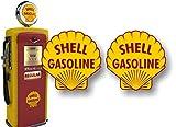 2 Vintage Service Station Gasoline Gas Pump 4' Decals Retro Gas Pumps Grease Garage Sign Stickers ((2) 4' Round Decals)