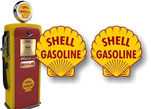 2 Vintage Service Station Gasoline Gas Pump 9' Decals Retro Gas Pumps Grease Garage Sign Stickers ((2) 9' Round Decals)