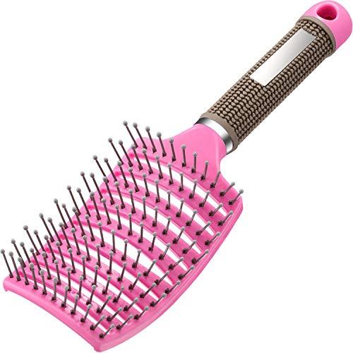 Brosse à Cheveux Ventilé Courbé Brosse à Cheveux Courbée Brosse à Cheveux pour Cheveux Longs et Bouclés Humides, Unisexe(Rose)