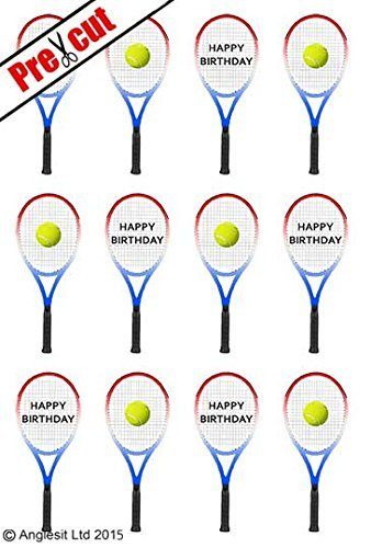 PRE-CUT TENNIS RACKET WITH BALL EDIBLE RICE / WAFER PAPER CUP CAKE TOPPERS PARTY BIRTHDAY DECORATION by Anglesit Sport