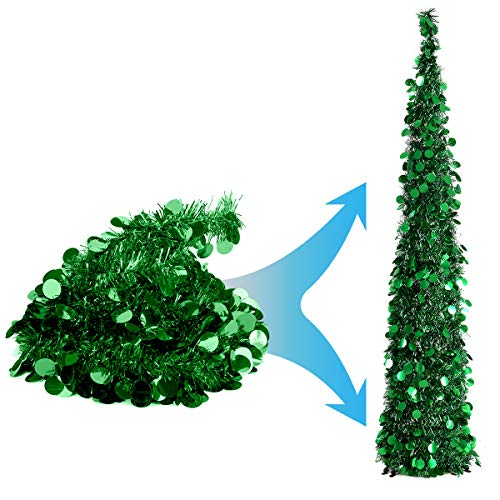 Joy-Leo 5 Foot Green Sequin Pop Up Tinsel Christmas Tree, Easy to Assemble and Store, for Small...