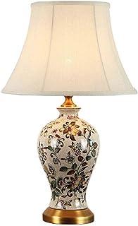 NARUJUBU Lampe de Table en céramique de Style Chinois, décoration de Lampe Peinte rétro américaine, Lampe de Chevet plissé...