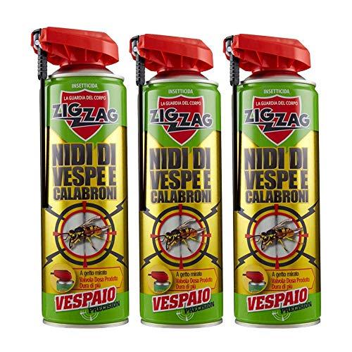ZIG ZAG, Vespaio Precision, Insetticida Vespe Spray ad Azione immediata, con valvola a Doppia erogazione, 3 Confezioni da 400 ml