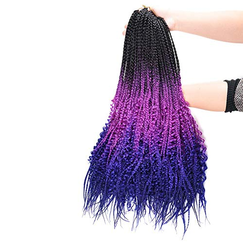 6 Packs 24Inch Box Braids Crochet Braids with Curly Ends 3X Box Braid Ombre Purple Crochet Hair Extension 22Strands/Pack (6pack 1b/purple)