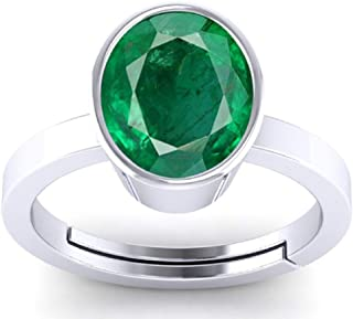 SirDaksh Silver Plated Brass Lab created 2.5 Carat Emerald Panna Gemstone ring With Adjustable Ring For Women and Men