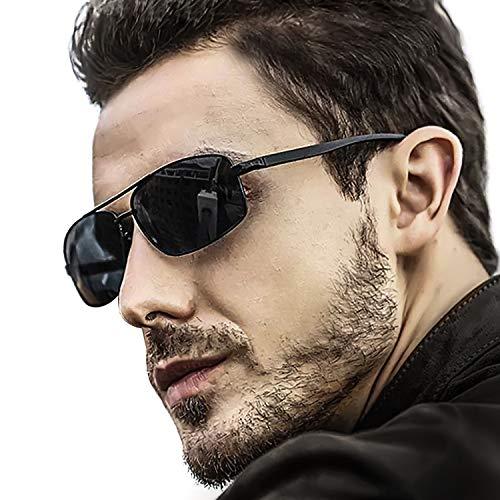 LVIOE Hombres Polarizadas Gafas De Sol Rectangulares Marco De Metal Protección 100% UVA & UVB (Negro/Gris)