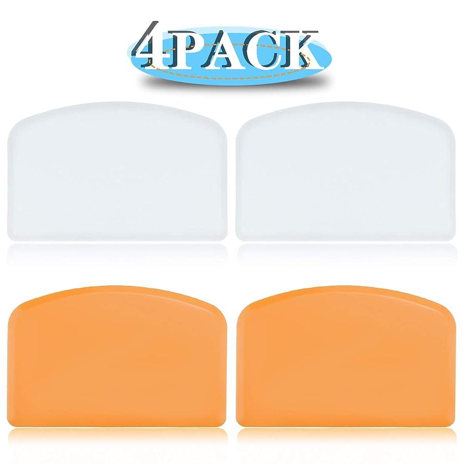 チャレンジ機関欠乏DOERDO 食品に安全なプラスチック生地スクレーパー 4パック 食品の切断とクリーニング 多目的食品スクレーパー