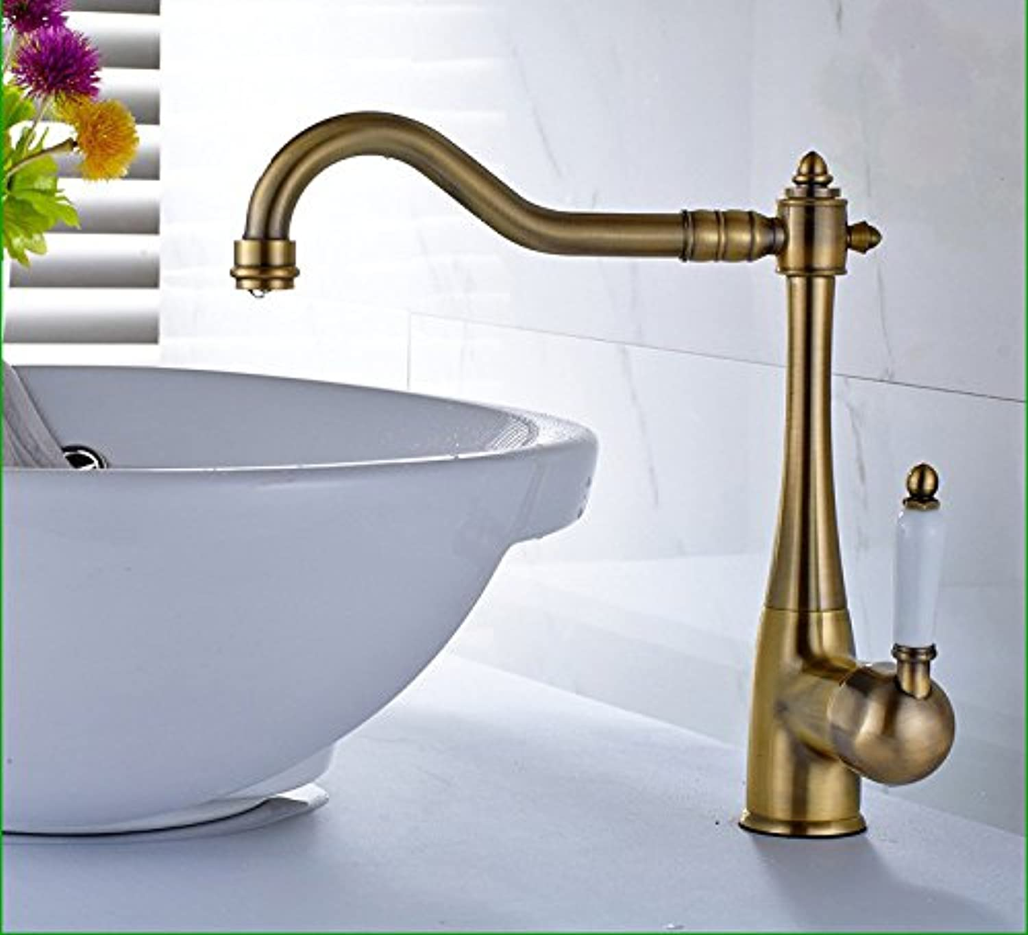 Hlluya Professional Sink Mixer Tap Kitchen Faucet The brass faucets green ceramic handle to redate the hot water tap retro-basin surface basin mixer