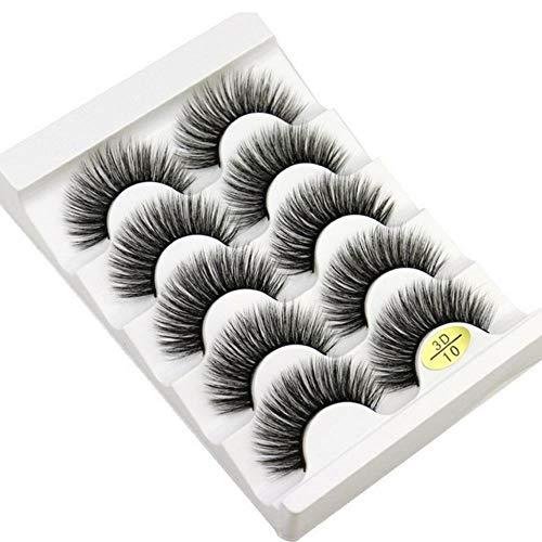 KADIS 5 Pairs Natural False Eyelashes Fake Lashes Long Makeup 3D Lashes Eyelash Extension Eyelashes for Beauty,3D10