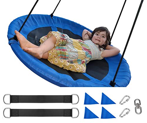 ORANGUTAN Tree Swings for Kids Outdoor, Flying Saucer Swing with 360°Rotate 40 Inch 600LBS Capacity, Bonus Snap Hooks, Tree Straps, Swing Swivel and Flags, for Playground Swing, Backyard (Blue)