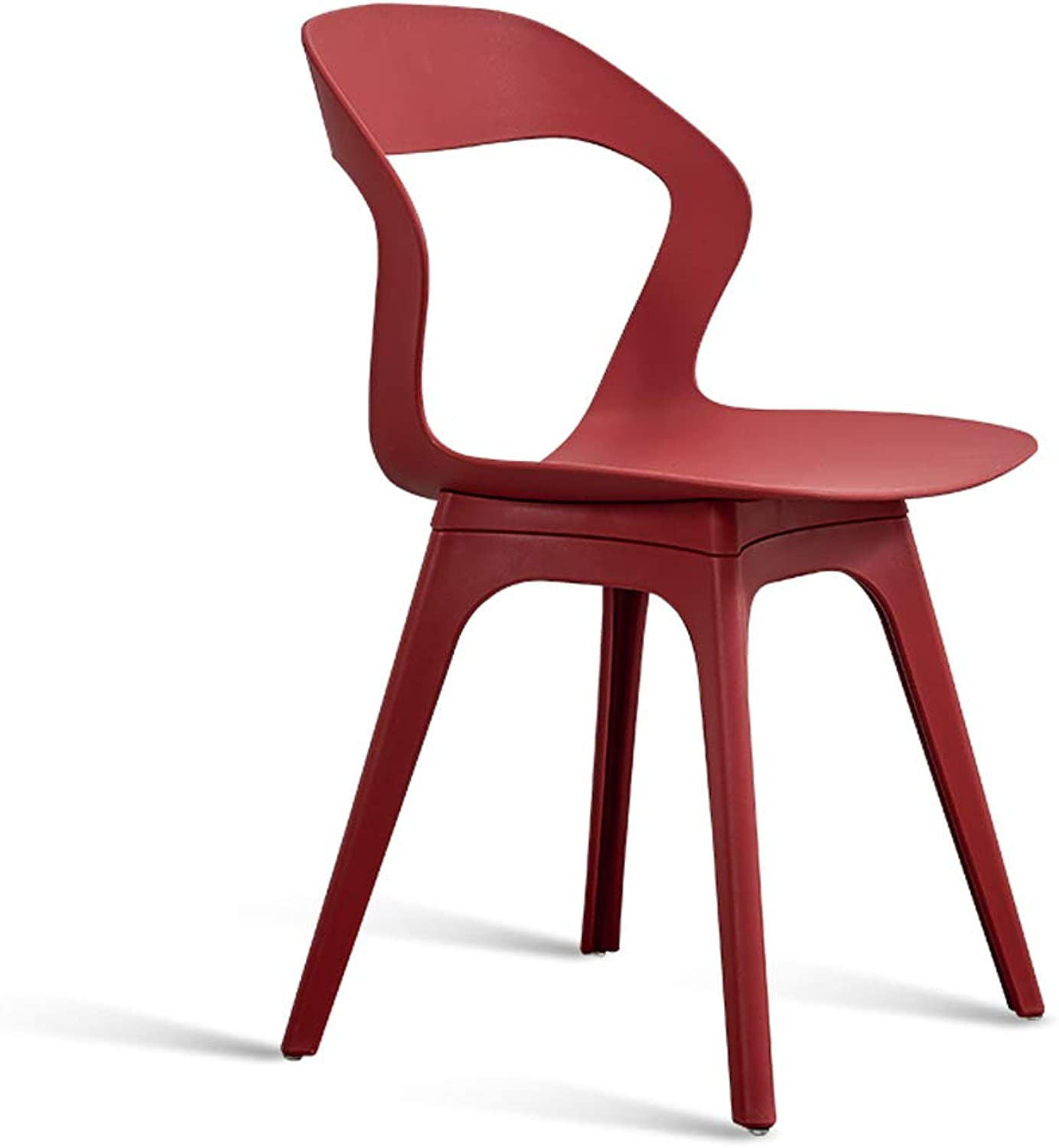Plastic Dining Chair Leisure Chair Simple Backrest Stool Living Room Chair Desk Chair-L44W44.5H80CM (color   RED)