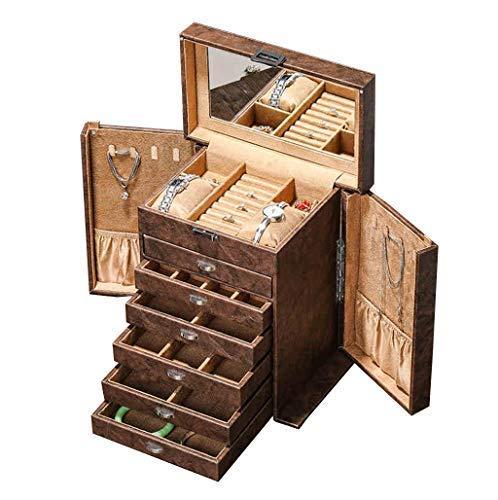 DFJU Joyero Grande Organizador de Joyas Espejo de tocador Incorporado 7 Capas con 6 cajones Espejo para Pendientes Pulseras Anillos Reloj