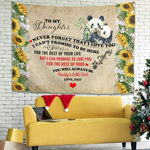 superyu Panda To My Daughter Love New Launched Hippie Bohemian Tapisserie Wandbehang Blume Psychedelic Tapestry Wall Hanging with Art Nature Home Decorations for Living Room White 231,1 x 149,9 cm