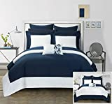 Chic Home 7 Piece Charlene Modern Two Tone Reversible Twin Bed in a Bag Comforter Set Navy with sheetset