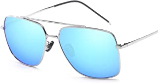 SGJFZD Vintage Retro Square Outdoor Seaside Sunscreen UV400 Polarized Sunglasses Fishing Ladies' Trendy Polarized Sunglasses Sporting Large Frame Elegant Sunglasses (Color : Blue)