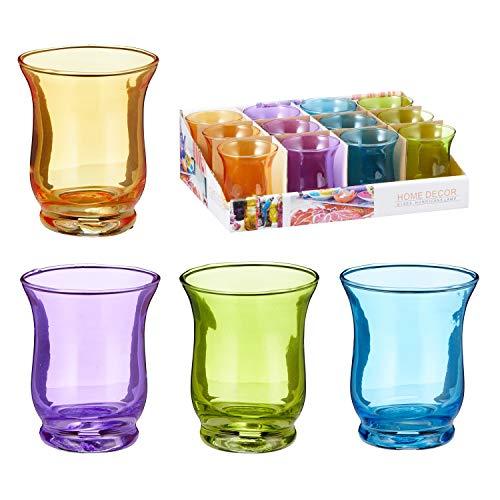 Annastore 12 x Windlichter in geschwungener Optik für Teelichter - Teelichtgläser - Bunte Glas-Windlichter - kleine Windlichter Farbe bunt