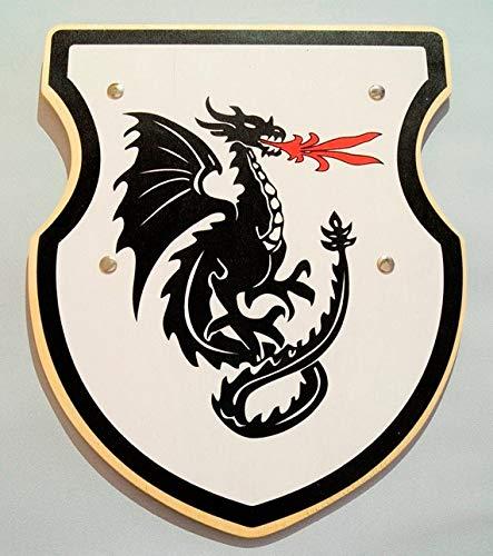 LuxTri | Drachenschild | Holzschild weiß | Karnevalsschild | Kinderschild | Holzspielzeug Wappen - Schild mit Drachen-Motiv | Ritter der Tafelrunde | König Arthur | Excalibur