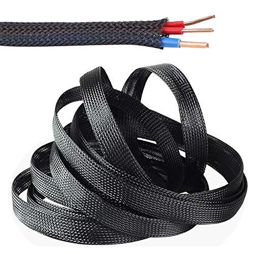 SENDILI Gewebter Kabelmantel - Schwarz Flexibler kabelkanal 10m Kabelschlauch mit Einstellbarem Durchmesser Cable Management, 20mm