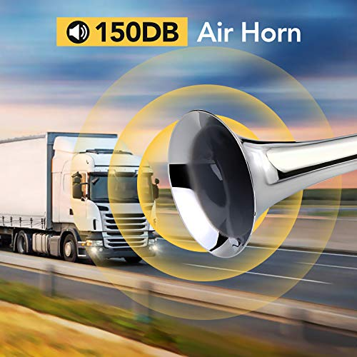HK 150DB Air Train Horn kit for Car, Super Loud Twin Tone Chrome Plated Zinc Dual Trumpet with 120 PSI Compressor for Any 12V Trucks Lorrys Trains Vans Boats (Silver)