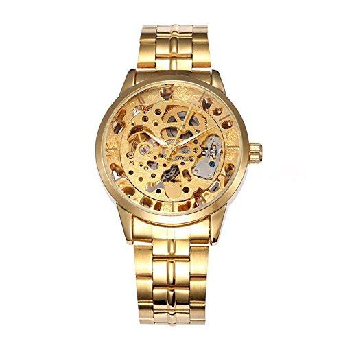 Uomo orologio meccanico–Shenhua da uomo in acciaio oro lusso scheletro meccanico automatico orologio sportivo