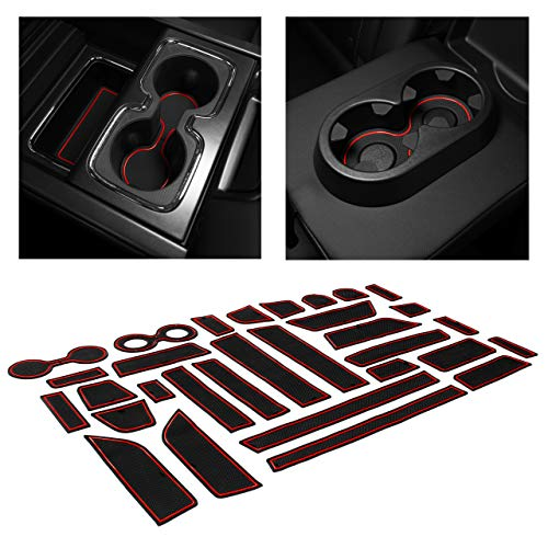 CupHolderHero for Chevy Silverado 1500 and GMC Sierra Accessories 2014-2018 Interior Cup Holder Inserts, Center Console Liner Mats, Door Pocket 31-pc Set (Crew Cab with Bucket Seats) (Red Trim)