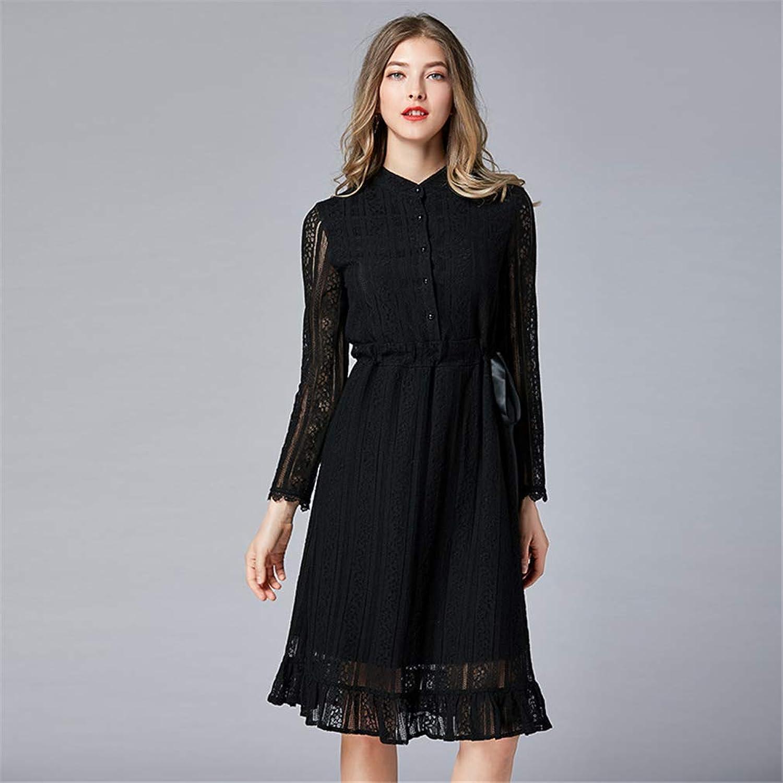 ドレス 女の子 プラスサイズ レース ウエスト スリムフィット スタンディングカラー 膝丈 黒 スリム カクテルパーティー ウエア(L-5XL)