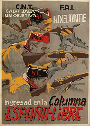 Póster vintage de la Guerra Civil Española 1936-39. Una bala, un objetivo. Ingresad en la columna. España libre. Póster réplica en papel de 250g, tamaño A3