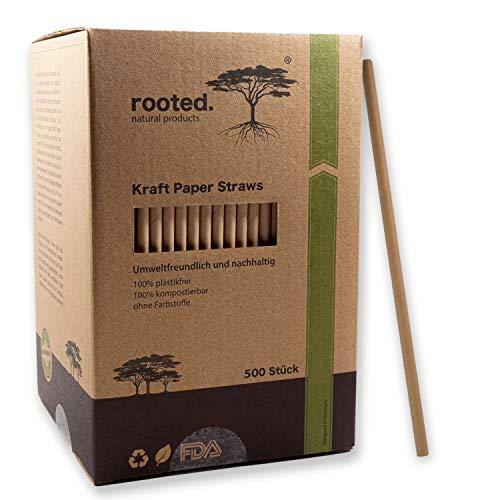 rooted.® Premium Papierstrohhalme - 500 Stück - Papiertrinkhalme - geschmacklos und extra langlebig - 100% biologisch abbaubare Papiertrinkhalme - Einwegtrinkhalme