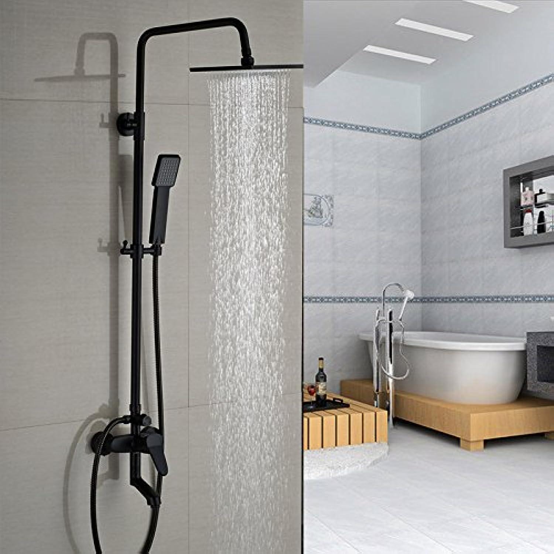 LWSFZAS Wandhalterung Gute Qualitt Bad Regen Dusche Mischbatterie Set Einhand Bad Dusche Mischbatterien mit WanneneinlaufSchwarz A