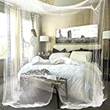 JBRD 4 Corner Mosquito Net,4 Corner Post Bed Canopy,Easy Disassembly and Assembly Mosquito Net,King Size and Queen Size Bed Curtain (White)