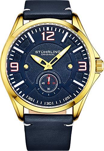 Stuhrling Original - Reloj de Piel para Hombre, Reloj de aviación, Fecha, Correa de Piel con Remaches de Acero, colección de Relojes para Hombre (Oro Azul)