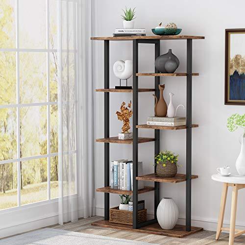 Tribesigns, libreria per libreria, scaffale da appoggio con telaio in ferro per casa, soggiorno, camera da letto, ufficio