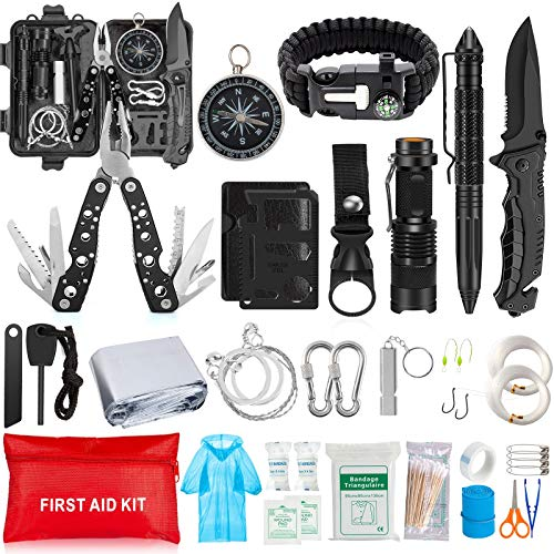 Emergency Survival Kit 37 in 1, Survival Gear Tool Kit SOS Survival Tool Emergency Blanket Tactical Pen Flashlight Pliers Wire Saw for Wilderness Camping Hiking First Aid Survival Kit for Earthquake